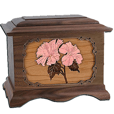 Hibiscus Walnut Cremation Urn For Two