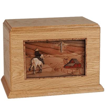 Horse & Cross Oak Companion Urn