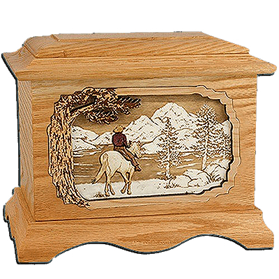 Horse & Lake Oak Cremation Urn for Two