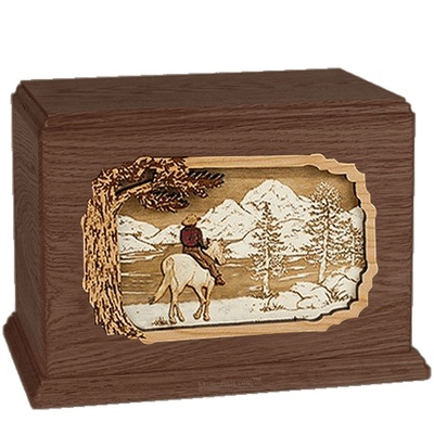 Horse & Lake Walnut Companion Urn