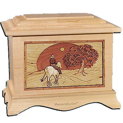 Horse & Moon Maple Cremation Urn for Two