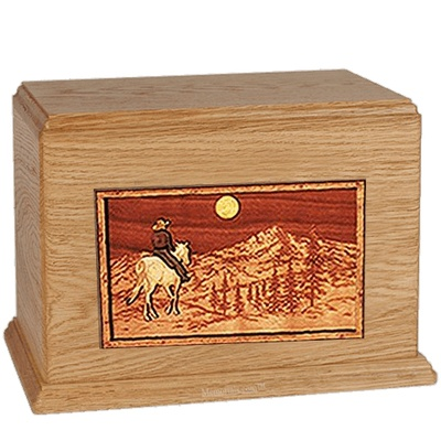 Horse & Mountain Oak Companion Urn