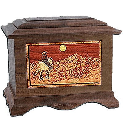 Horse & Mountain Walnut Cremation Urn For Two