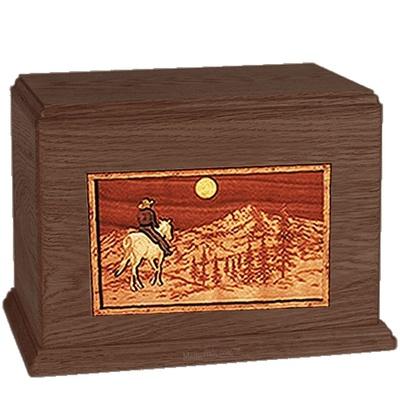 Horse & Mountain Walnut Companion Urn