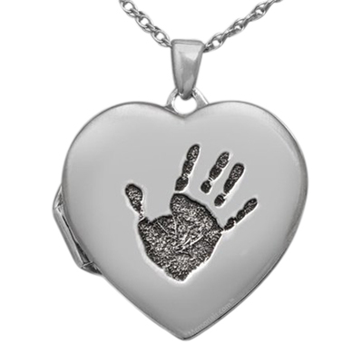 Handprint 14k White Gold Locket Keepsake