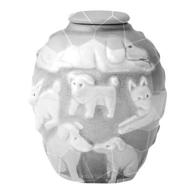 Happy Dog White Crackle Cremation Urn