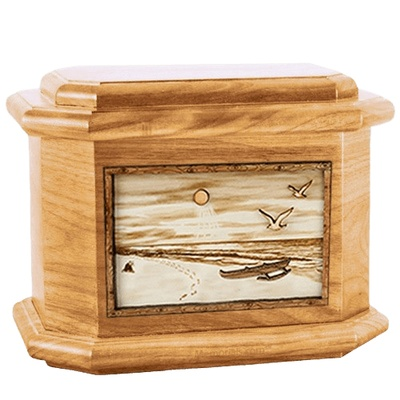 Hawaiian Oak Octagon Cremation Urn