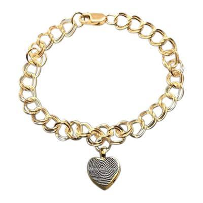 Heart 14k Gold Cremation Print Bracelet