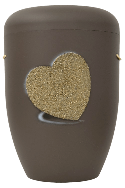 Heart Biodegradable Urn in Brown