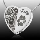 Heart Name & Paw Sterling Print Cremation Keepsake