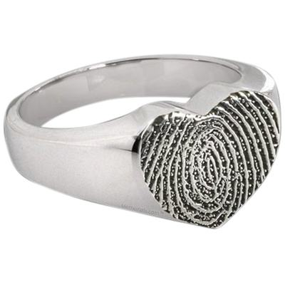 Heart Sterling Cremation Print Ring
