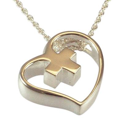 Heart Cross Slider Keepsake Pendant