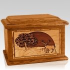 Heartland Deer Mahogany Memory Chest Cremation Urn