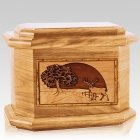 Heartland Deer Oak Octagon Cremation Urn