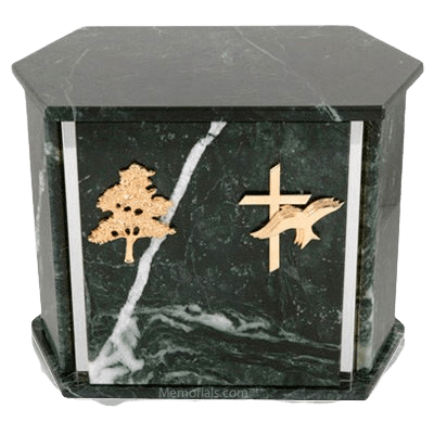 Hexagon Silver Blue Tone Granite Companion Urn