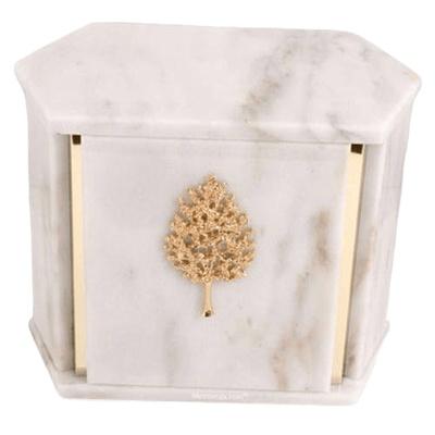 Hexagon White Carrara Marble Companion Urn