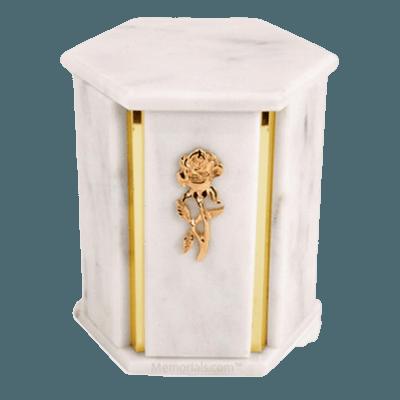 Hexagon White Danby Marble Urn