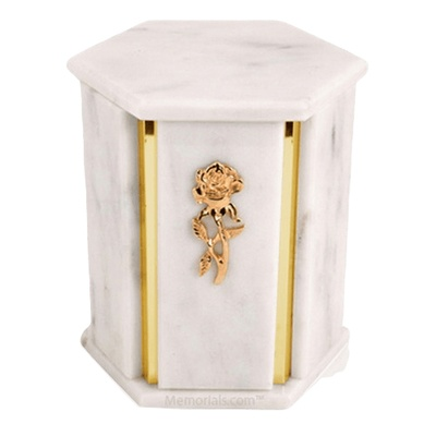 Hexagon White Carrara Marble Urn
