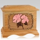 Hibiscus Oak Cremation Urn