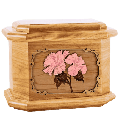 Hibiscus Oak Octagon Cremation Urn