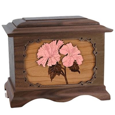 Hibiscus Walnut Cremation Urn