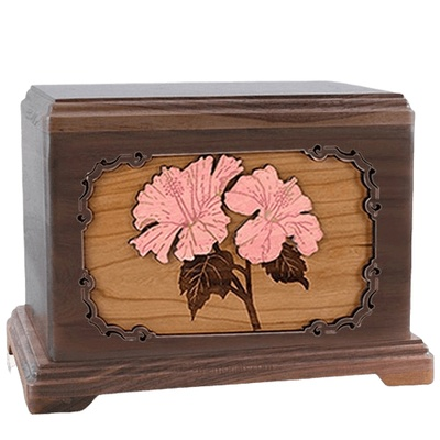 Hibiscus Walnut Hampton Cremation Urn