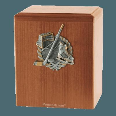 Hockey Fan Light Cherry Cremation Urn