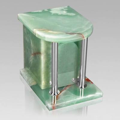 Home Silver Green Onyx Marble Cremation Urn 2
