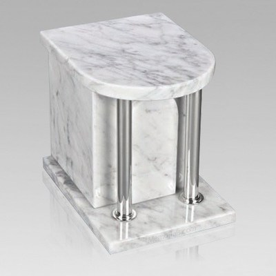 Home Silver White Danby Marble Cremation Urn 2
