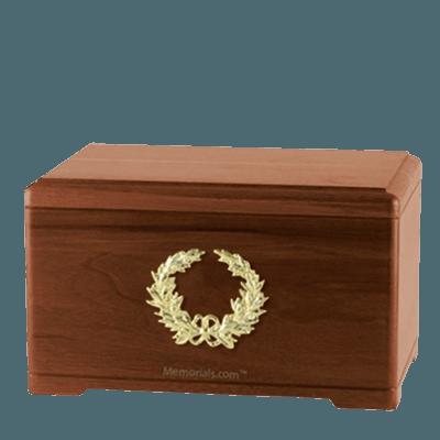 Honor Wreath Walnut Cremation Urn