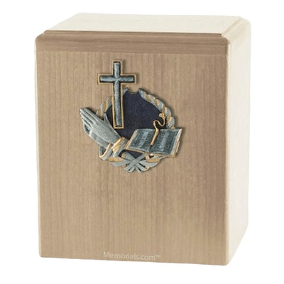 Praying Cross Maple Cremation Urn