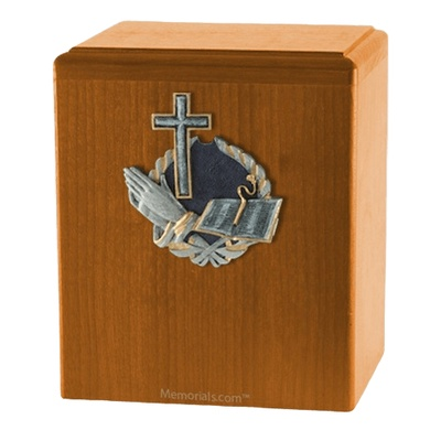 Praying Cross Oak Cremation Urn