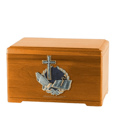 Praying Bible Oak Cremation Urn