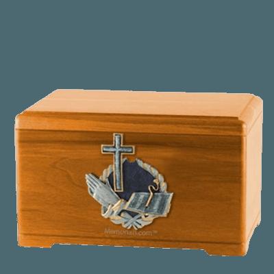 Praying Bible Oak Cremation Urn