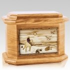 Horse Beach Oak Octagon Cremation Urn