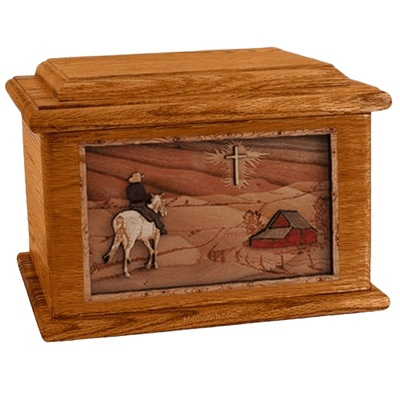 Horse & Cross Mahogany Memory Chest Cremation Urn