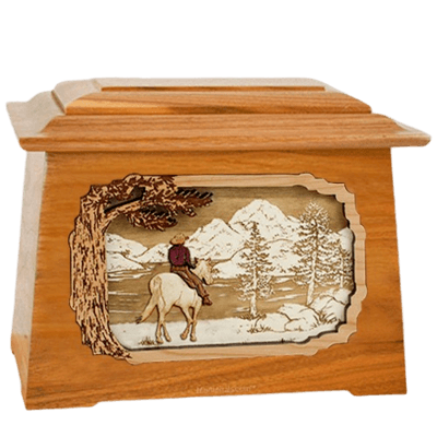 Horse & Lake Mahogany Aristocrat Cremation Urn