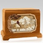 Horse & Lake Mahogany Cremation Urn for Two