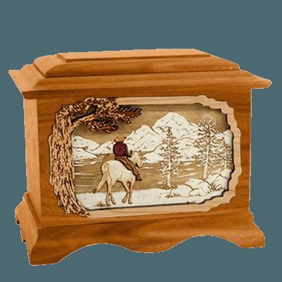 Horse & Lake Mahogany Cremation Urn