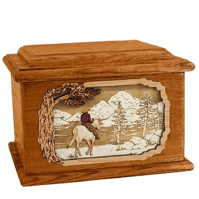 Horse & Lake Mahogany Memory Chest Cremation Urn