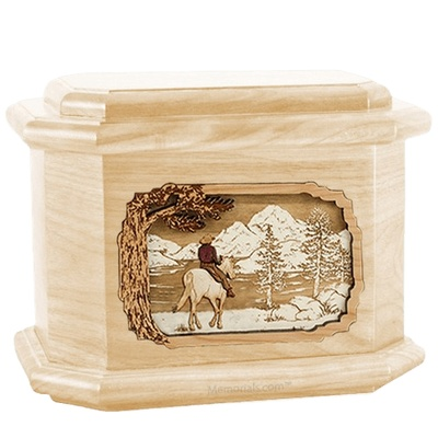 Horse & Lake Maple Octagon Cremation Urn