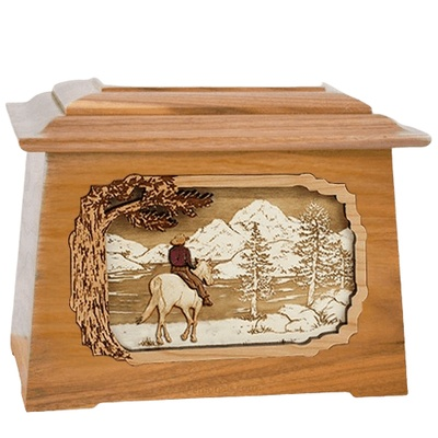 Horse & Lake Oak Aristocrat Cremation Urn