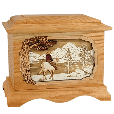 Horse & Lake Oak Cremation Urn