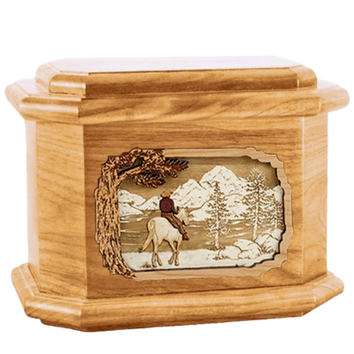 Horse & Lake Oak Octagon Cremation Urn