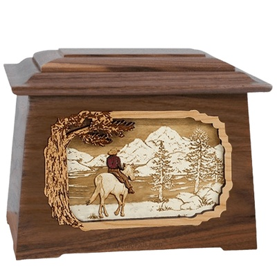 Horse & Lake Walnut Aristocrat Cremation Urn