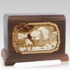 Horse & Lake Walnut Cremation Urn for Two