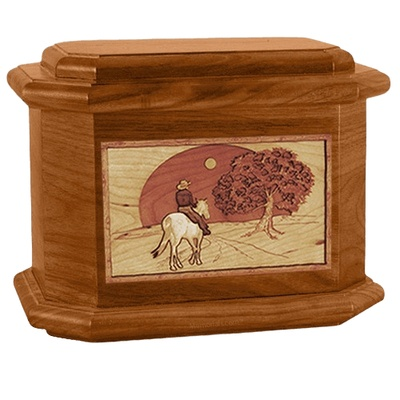 Horse & Moon Mahogany Octagon Cremation Urn
