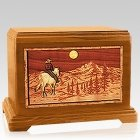 Horse & Mountain Mahogany Cremation Urn For Two
