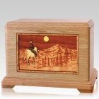 Horse & Mountain Oak Cremation Urn For Two