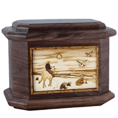 Horse Beach Walnut Octagon Cremation Urn
